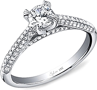 Sylvie Triple Row Diamond Engagement Ring