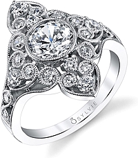 Sylvie Vintage Floral Diamond Engagement Ring