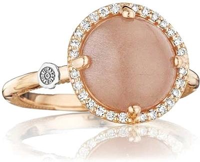 Tacori 18K Rose Gold Peach Moonstone & Diamond Ring SR182P36