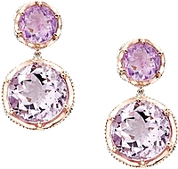 Tacori 18K925 Amethyst & Rose Amethyst Drop Earrings