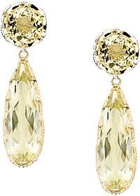 Tacori 18K925 Citrine & Lemon Quartz Drop Earrings