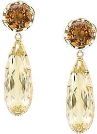 Tacori 18K925 Cognac & Citrine Quartz Drop Earrings