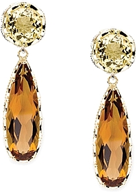 Tacori 18K925 Honeycomb Citrine & Cognac Quartz Earrings