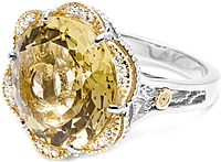 Tacori 18K925 Lemon Quartz & Diamond Ring