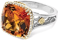 Tacori 18k925 Madeira Citrine & Diamond Ring