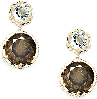 Tacori 18K925 Prasiolite & Smokey Quartz Drop Earrings
