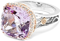 Tacori 18K925 Rose Amethyst & Diamond Ring