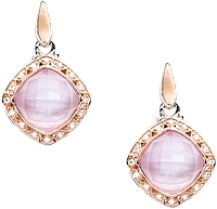 Tacori 18K925 Rose Amethyst Over Pink Mother-of-Pearl & Diamond Earrings.