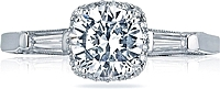 Tacori Baguette & Pave Diamond Engagement Ring