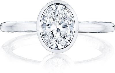 This image shows the setting with a 1.25ct oval cut center diamond. The setting can be ordered to accommodate any shape/size diamond listed in the setting details section below.
