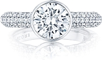 Tacori Bezel Set Pave Diamond Engagement Ring