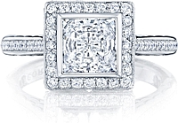Tacori Bezel Set Pave Halo Diamond Engagement Ring