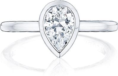 Tacori Bezel Set Pear Shape Diamond Engagement Ring 300 2ps