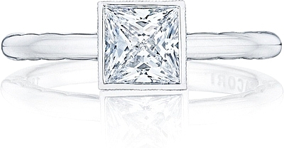 This image shows the setting with a .85ct princess cut center diamond. The setting can be ordered to accommodate any shape/size diamond listed in the setting details section below.