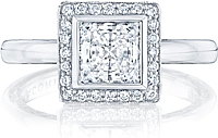 Tacori Bezel Set Princess Cut Pave Halo Engagement Ring