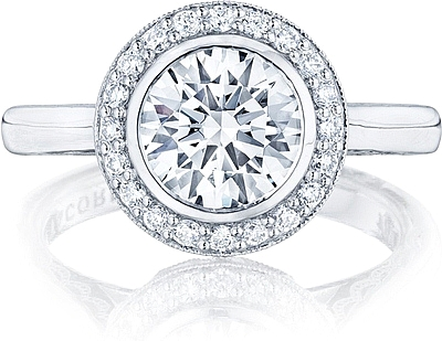 This image shows the setting with a 2.50ct round cut center diamond. The setting can be ordered to accommodate any shape/size diamond listed in the setting details section below.