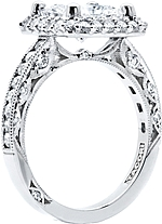 This image shows the setting with a 1.75ct princess cut center diamond. The setting can be ordered to accommodate any shape/size diamond listed in the setting details section below.