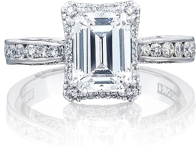 Tacori Channel Set Emerald Cut Engagement Ring W Bloom 26463ec