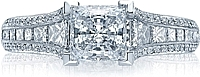 Tacori Channel-Set Princess Cut & Pave Diamond Engagement Ring