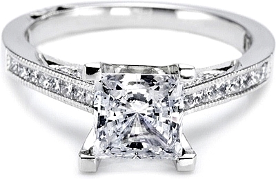 This image shows the setting with a 1.00ct princess cut center diamond. The setting can be ordered to accomodate any shape/size diamond listed in the setting details section below.