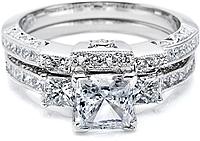 Tacori Contoured Channel Set Princess Cut & Pave Diamond Band