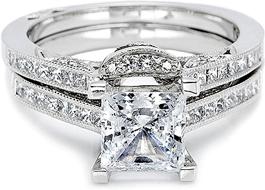 Tacori Contoured Channel Set Princess Cut Diamond Band 2576b