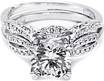 This image shows the setting with a 1.10ct princess cut center diamond with the matching wedding band; sold separately.