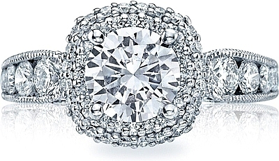 This image shows the setting with a 1.75ct cushion cut center diamond. The setting can be ordered to accommodate any shape/size diamond listed in the setting details section below.