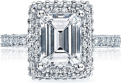 Tacori Double Halo Emerald Cut Diamond Engagement Ring Ht2522ec