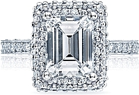 Tacori Double Halo Emerald Cut Diamond Engagement Ring