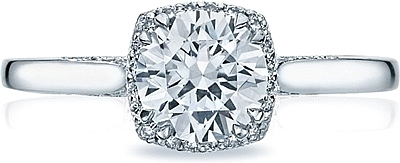 This image shows the setting with a 1.00ct round cut center diamond. The setting can be ordered to accommodate any shape/size diamond listed in the setting details section below.