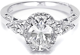 This image shows the setting with a 1.50ct oval shaped center diamond. The setting can be ordered to accommodate any shape/size diamond listed in the setting details section below.