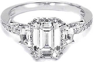 Tacori Engagement Ring W Shield Cut And Pave Diamonds 2628ecp