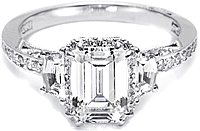 Tacori Engagement Ring w/ Shield-Cut and Pave Diamonds
