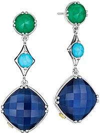 Tacori Green Onyx, Turquoise & Blue Quartz Drop Earrings