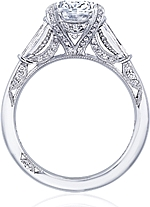 This image shows the setting with a 3.00ct oval cut center diamond. The setting can be ordered to accommodate any shape/size diamond listed in the setting details section below.