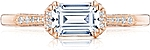 This image shows the setting with a .85ct emerald cut center diamond. The setting can be ordered to accommodate any shape/size diamond listed in the setting details section below.