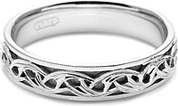 Tacori Mens Wedding Band With Hand Engraved Scroll Work -5.0mm
