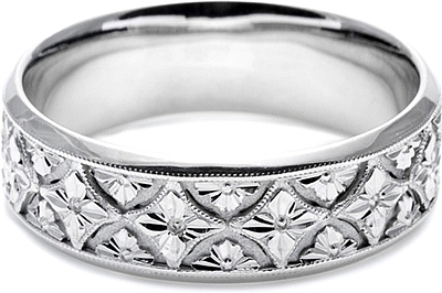 Tacori Mens Wedding Band With Hand Engraved Scroll Work 70mm Ht2389