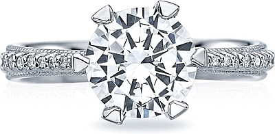 This image shows the setting with a 1.90ct round cut center diamond. The setting can be ordered to accommodate any shape/size diamond listed in the setting details section below.