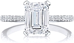 This image shows the setting with a 2.00ct emerald cut center diamond. The setting can be ordered to accommodate any shape/size diamond listed in the setting details section below.