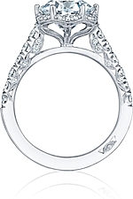 This image shows the setting with a 2.00ct round cut center diamond. The setting can be ordered to accommodate any shape/size diamond listed in the setting details section below.