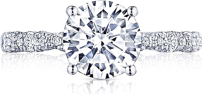 This image shows the setting with a 1.80ct round brilliant cut center diamond. The setting can be ordered to accommodate any shape/size diamond listed in the setting details section below.