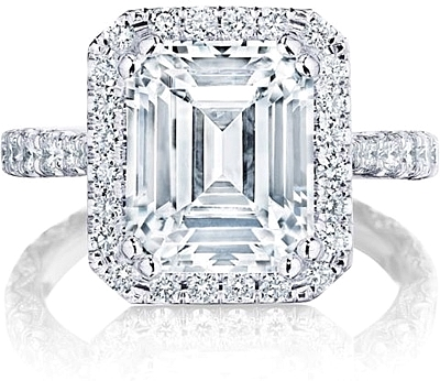 This image shows the setting with a 3.50ct emerald cut center diamond. The setting can be ordered to accommodate any shape/size diamond listed in the setting details section below.