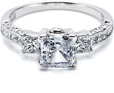 This image shows the setting with a 1.25ct princess cut center diamond. The  setting e9dfad66d