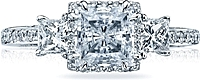 Tacori Princess Cut Three Stone Diamond Engagement Ring