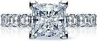 Tacori Prong-Set Diamond Engagement Ring w/ Asscher Cut Sides
