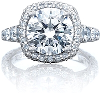 Tacori RoyalT Diamond Engagement Ring w/ Cushion Bloom