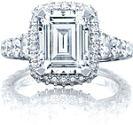 This image shows the ring with a 3.00ct emerald cut center diamond but can be ordered to accommodate any shape or size diamond listed below.