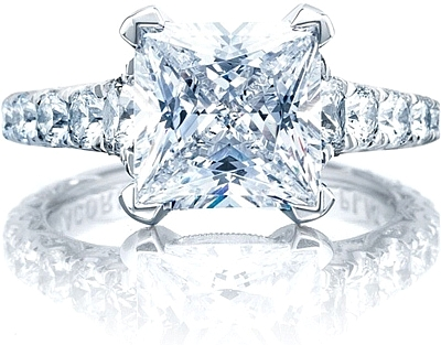 This image shows the ring with a 3.00 princess cut center diamond but can be ordered to accommodate any shape or size diamond listed below.